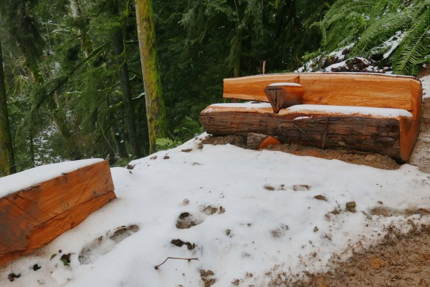 Amenities are already being built such as this bench at a spot with a view over Granite Creek