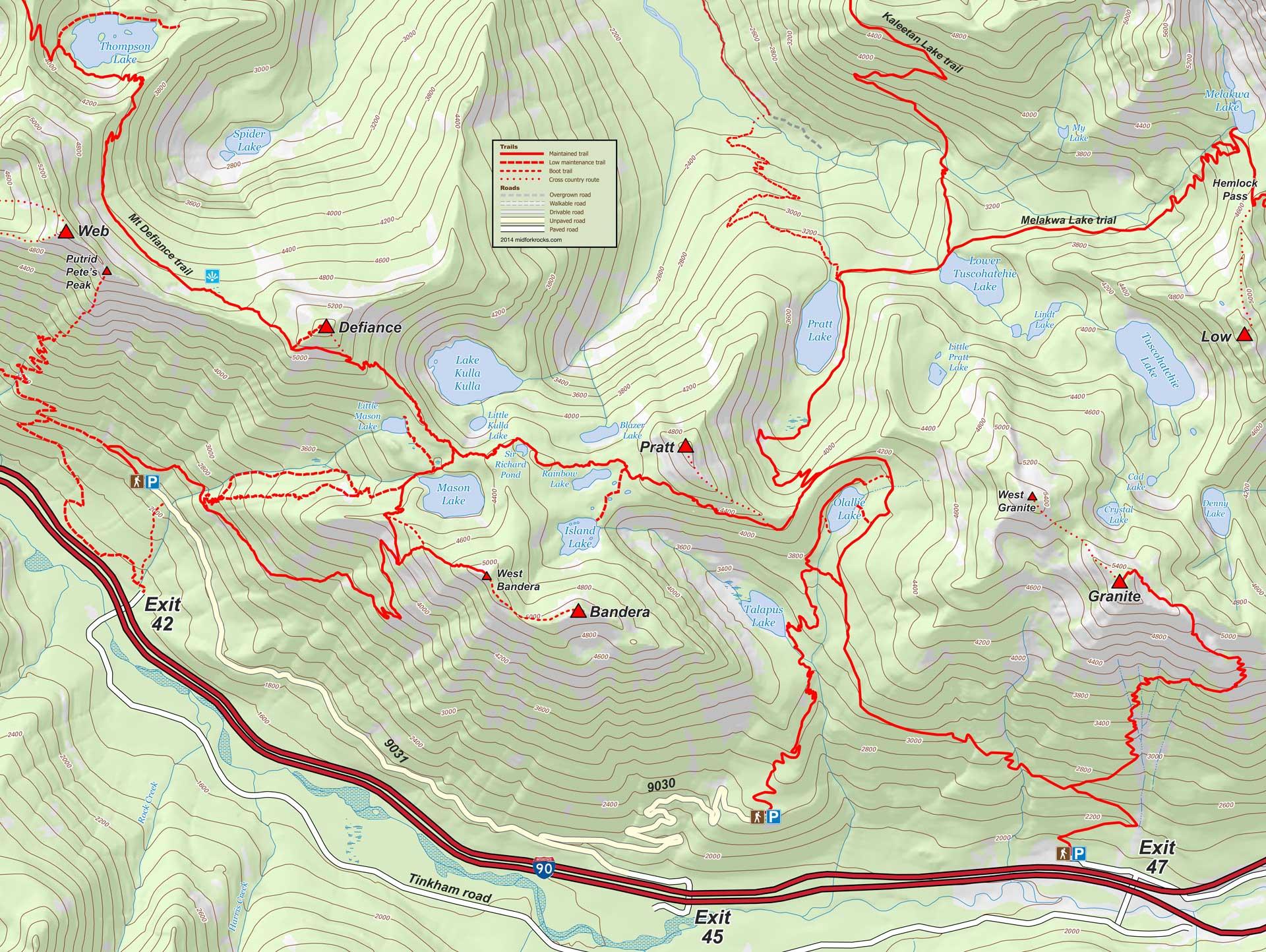 I-90 area map